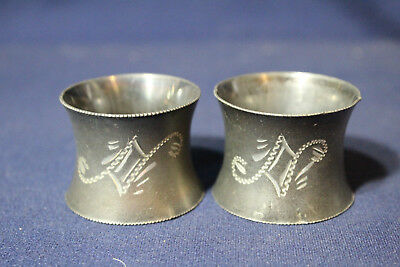 Antique Etched Pair of Engraved Silver plate Napkin Rings E M Monograms