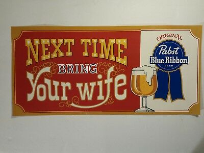 VINTAGE Pabst Blue Ribbon  Beer Sign Poster STORE AD PBR more in other auctions!