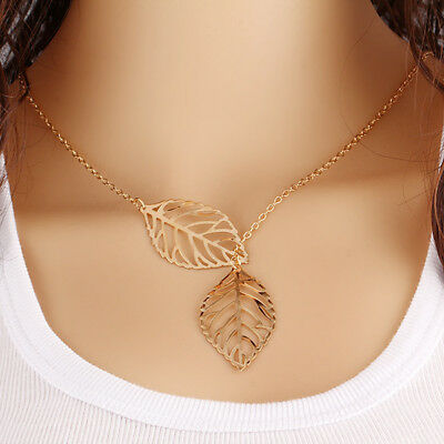New Simple Gold/Silver Plated Double Leaf Alloy Pendant Necklace Fit Women Gift
