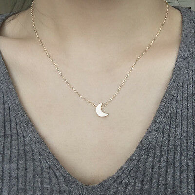 New Simple Gold/Silver Plated Moon Pendant Necklace Fit Women Party Wedding Gift