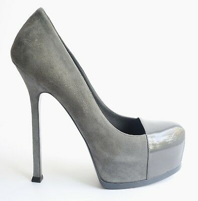 017370cfca7 YSL Yves Saint Laurent Tribtoo Gray Suede and Patent Pumps Heel 38.5 ~ US 8-