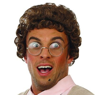 Adult Mens TV Brown Curly Mrs Granny Wig Glasses Fancy Dress Old Woman Lady