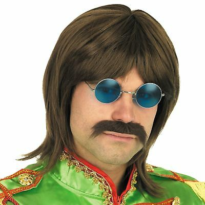 Adult Mens 60s Hippy Hippie John Lennon Wig Glasses Fancy Dress Accessories New