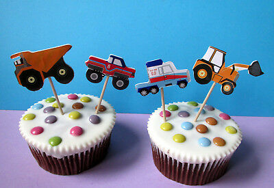 Trucks - LKW - Bagger - Auto -  24 Cupcake Muffin Cake Topper picks - Sticks