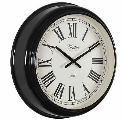 Very Large 45cm Vintage Style Station Clock High Gloss Black Acctim Higham