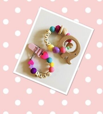 Personalised Baby Gift Set Teething Toy & Dummy Clip