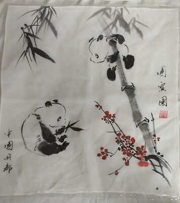 Cute Pandas - cloth with pandas on bamboo and red berries w/Chinese characters