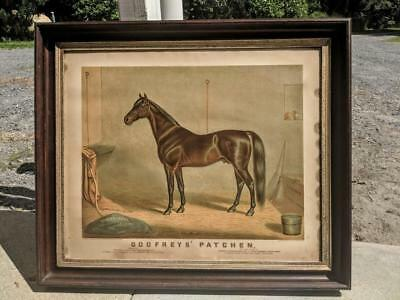 Antique Equestrian AMERICAN RACE HORSE Lithograph Print Godfreys Patchen 1870's