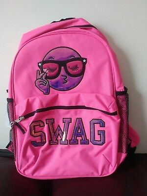 NWT Children's Place Girls Emoji 'SWAG' Neon Backpack Bright Pink