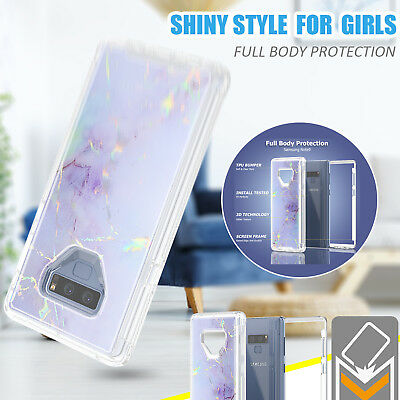 360 Full Protective Marble Iridescent Slim Case Cover For Samsung Note 9 S9 Plus