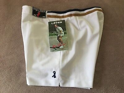 Nwt Vintage Rod Laver Polyester Tennis Shorts White Navy Gold Trim 36 Taiwan
