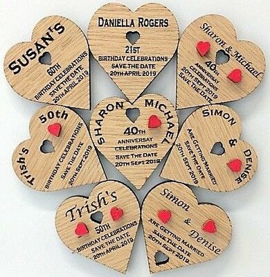 Weddings Save The Date Personalised Oak Hearts Birthdays Anniversaries LARGE