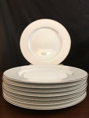 8 Carlton Japan Plymouth White Scrolls Dinner Plates With Platinum Trim! EUC