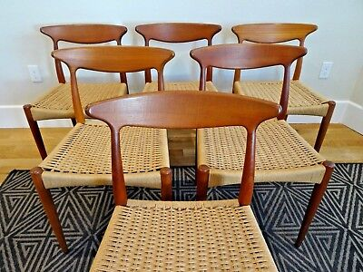 Danish Mid Century Modern Arne Hovmand Olsen Teak Dining Set Table Chairs MCM