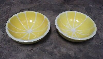 """Sliced Lemon Themed Candy Bowls ~ Pair Of Small Vintage 1.5"""" High Ceramic Bowls"""