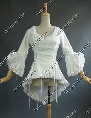 Victorian Gothic White Queen Lace Overlay Bodice Blouse Theater Costume N C001