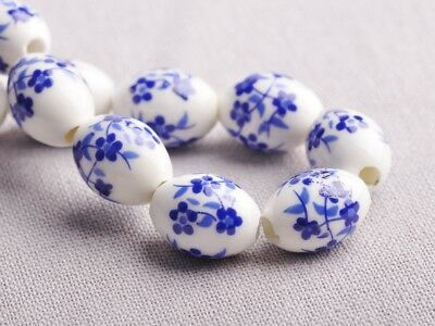 NEW 10pcs 15X10mm Oval Ceramic Spacer Findings Loose Beads Flowers Pattern #7