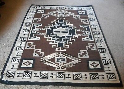 Navajo Rug Blanket Native Two Gray Hills pattern weaving Large SZ, 1940's OLD