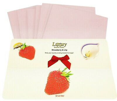 Strawberry & Lily Scented Luxury Drawer Liners Ideal Thank You Present 120gsm