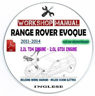 Manuale Officina Range Rover Evoque 2011-2014 Workshop Manual Factory Service