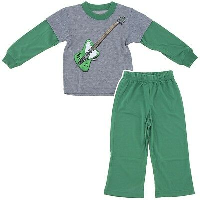 Wes and Willy Green Guitar Pajamas for Boys