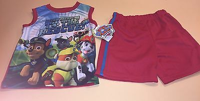 New Paw Patrol The Rescue Team Boys Toddler Summer Short Set Outfit Red Black