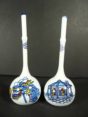 Japanese Porcelain Stick Bells Rattles Nagasaki Japan Dragon Flags Pagoda Whale