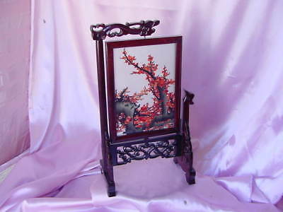 Hand Made Wood Dragon Stand & Lovely Embroidered Thread Sewn Flower Design Panel
