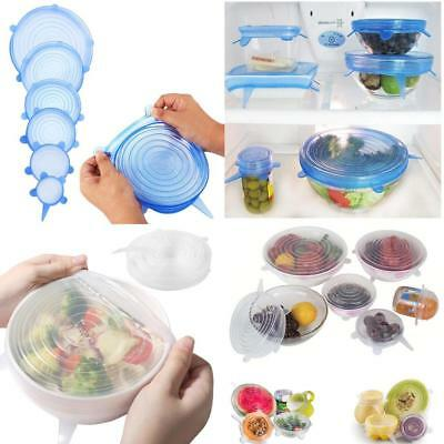 6x Silicone Stretch Lids Keep Fresh Kitchen Storage Wraps Cover for Fruits Bowls