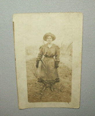 Old Antique Vtg 1912 Cowgirl With Gun and Holster Real Photo Post Card RPPC PC