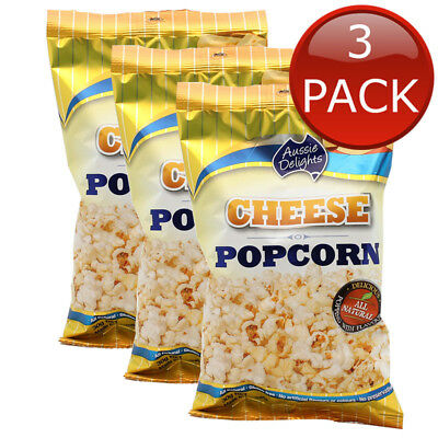 3 x AUSSIE DELIGHTS CHEESE POPCORN TASTY SNACK MOVIE ALL NATURAL GLUTEN FREE 30g