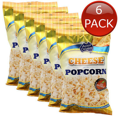 6 x AUSSIE DELIGHTS CHEESE POPCORN TASTY SNACK MOVIE ALL NATURAL GLUTEN FREE 30g