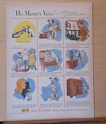 1946 magazine ad for RCA Victor - Story of dog mascot Nipper, His Master's Voice