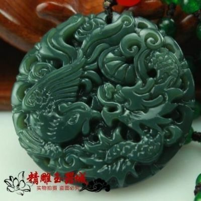 Natural green jade Boutique dragon and phoenix pendant free Necklaces