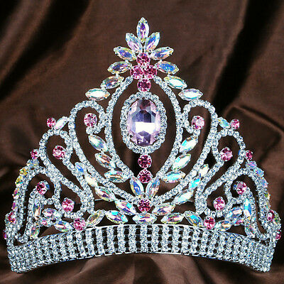 Awesome Tiara Pink AB Crystal Rhinestone Crown Wedding Headpiece Pageant Costume