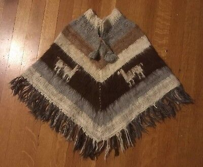 Handmade Alpaca Wool Poncho Shawl Sweater Kids Toddler 3-4? Boy Girl