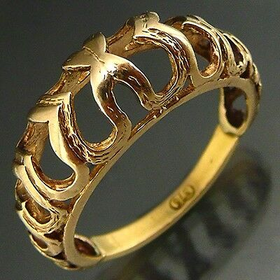 Interesting Flame or Heart Pierced Domed 9k Solid Yellow GOLD RING / BAND  Sz O