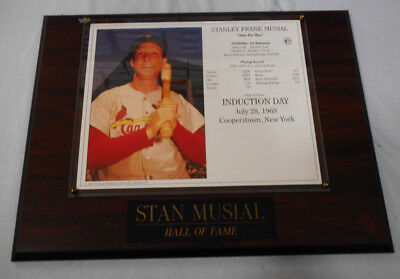 #qq.   Baseball Photo On Wood Backing - Stanley Musial