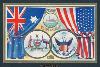 1908 Australia Welcomes Americans Postcard - 1d South Australia
