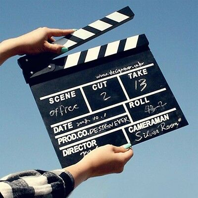 20*20cm Movie Film TV Slate Clapper Board Dry Erase Clapboard Cut Action Scene