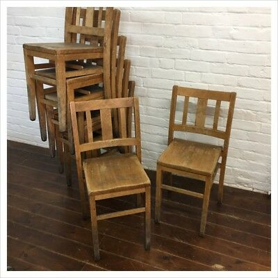 Industrial Vintage Wooden School Chair Adult Kitchen Dining Cafe Chapel Church