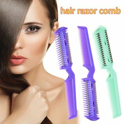 Changeable Blades Hairdressing Double Sided Hair Styling Razor Thinning Comb F7
