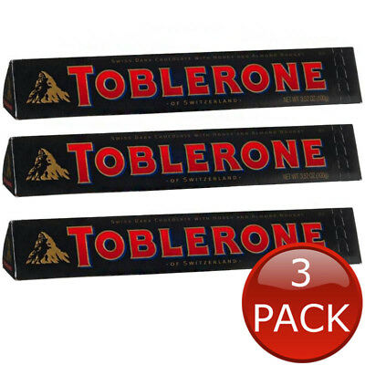 3 x TOBLERONE DARK CHOCOLATE BLOCK HEALTHY CHOCO SWISS SWITZERLAND BLACK 100g