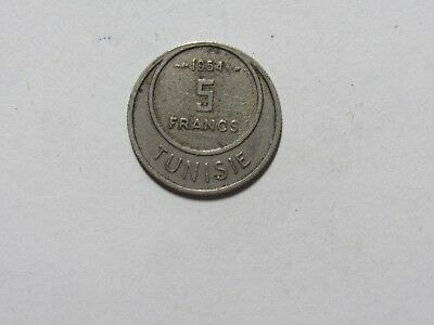 Old Tunisia Coin - 1954 5 Francs - Circulated
