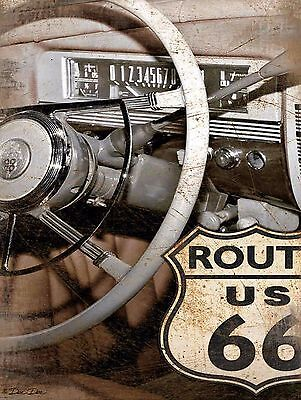 Route 66 Car, Retro metal Aluminium Sign Vintage Garage shed Man Cave wall
