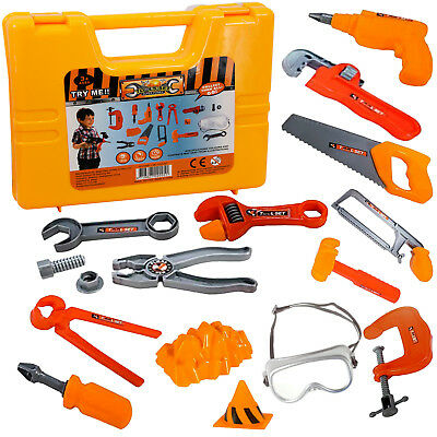 18 Pcs Plastic Kids Tool Play Set Carry Case Construction Toy Role Pretend Play