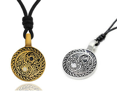 Yin Yang Feng Shui Ying Silver Pewter Gold Brass Charm Necklace Pendant Jewelry