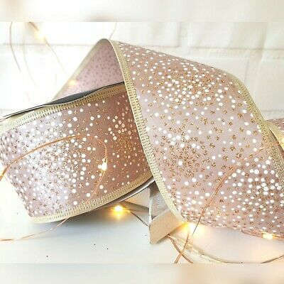 Wired Pink Rose Gold & White Glitter Dots Speckled Christmas Ribbon Xmas Tree