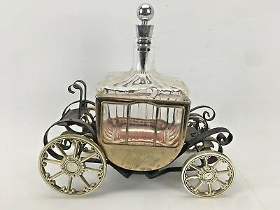 Vintage Carriage Decanter Bottle On Wheels Mancave Decorative Bar With Stopper
