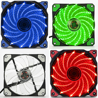120mm LED Ultra Silent Computer PC Case Fan 15 LEDs 12V Easy Installed DF